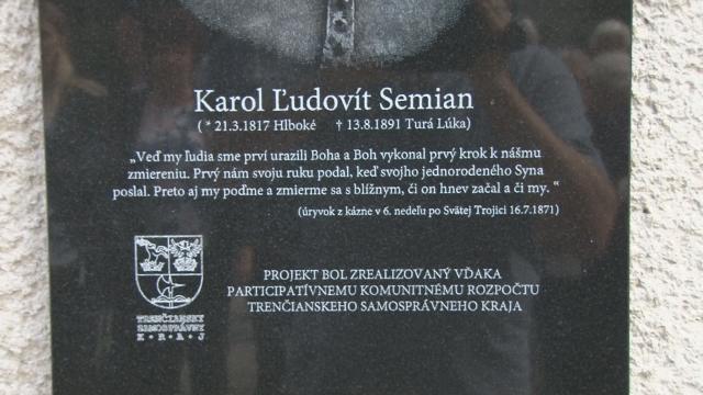 Odhalenie Pamätnej tabule Karolovi Ľudovítovi Semianovi